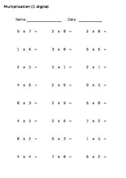Auto-Generated Multiplication Worksheets (Horizontal)
