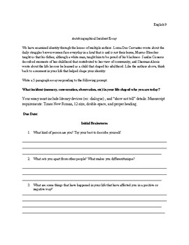 Autobiographical Narrative Essay- Using Mastery Grading Scale
