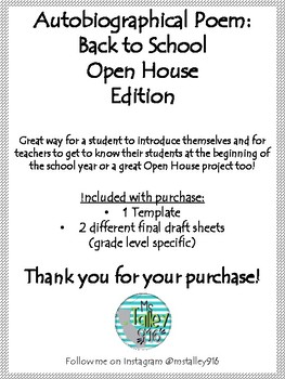Autobiographical Poem: Back to School or Open House Project