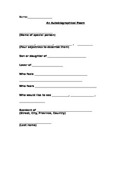 Autobiographical Poem Organizer