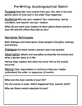 Autobiographical Writing Activity