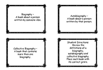 Autobiographies, Biographies and Collective Biographies - A Sorting Game