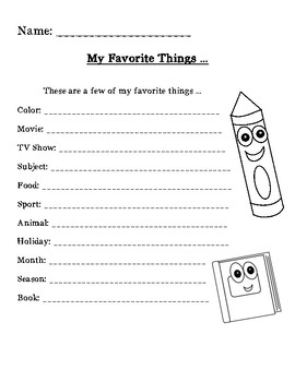 Autobiography Activities / Getting to Know You Activities