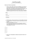 Autobiography Activity Template and Rubric