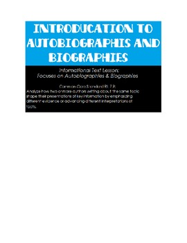 Autobiography & Biography Introduction