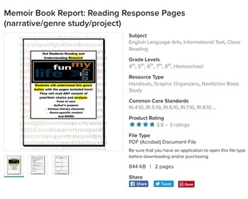 Nonfiction (Topic) and Autobiography, Biography, Memoir Book Reports (Bundle)