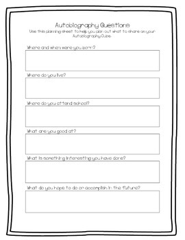 Autobiography Cube - Writing Activity
