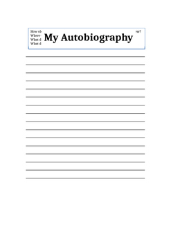 Autobiography Exercise (Back to School)