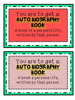 Autobiography Genre Library Cards for students Resource
