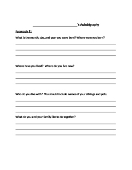Autobiography Graphic Organizer