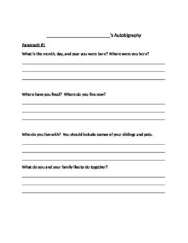 Autobiography Graphic Organizer