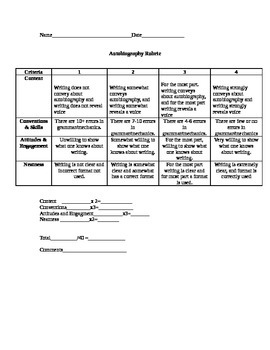 Autobiography Paper Rubric