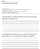 Autobiography Planning Page (Grades 2-6)