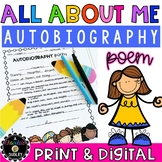 """""""All About Me"""" Autobiography Poem { End of the Year or Back to School Writing }"""