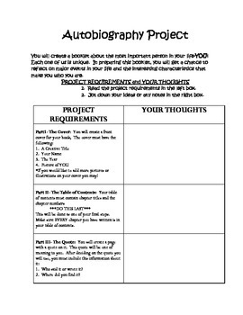Autobiography Project Book