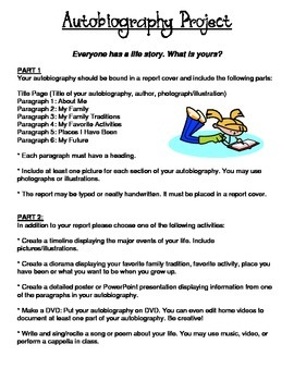 Autobiography Project Instructions