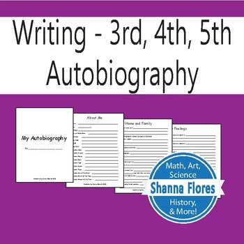 Autobiography Questionnaire - 3rd, 4th, 5th Grade Writing
