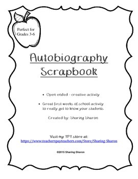 Autobiography Scrapbook - All about me first week of schoo