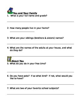 Autobiography Template for Primary Grades