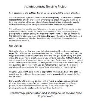 Autobiography Timeline ~ Language Arts Social Studies Art Writing Project