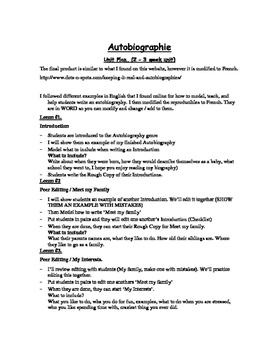 Autobiography Unit, en francais!
