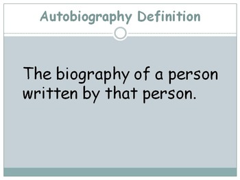"""Autobiography VS. Biography PPT (goes with """"notes"""" worksheet)"""