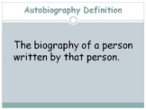 "Autobiography VS. Biography PPT (goes with ""notes"" worksheet)"