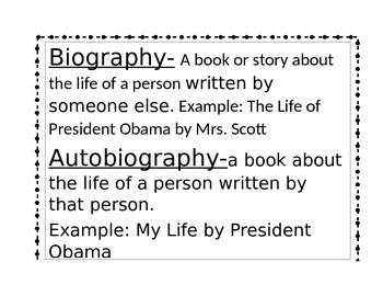 Autobiography and Biography Poster