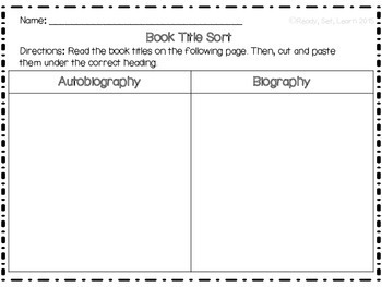 Autobiography and Biography Unit Resources