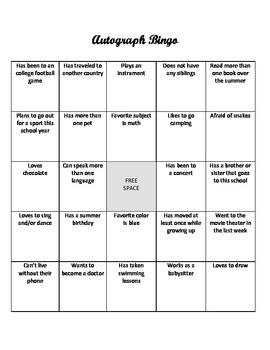 Autograph Bingo Game