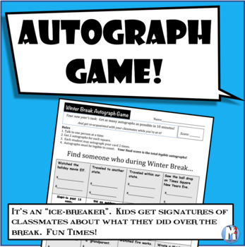 Autograph Game- New Years 2016 (Post Winter Break)