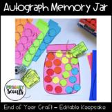 Autograph Memory Jar, Editable - End of Year Craftivity