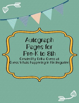 Autograph pages for Pre-K to 8th grade