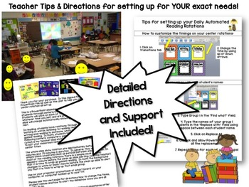 Automated Centers/Guided Reading Rotation Editable Powerpoint with 6 centers