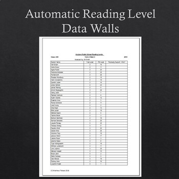 Automatic Reading Level Data Wall Creator Multiple Classes