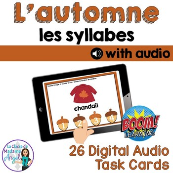 Automne:  Autumn (Fall) Themed Digital Audio Task Cards in French - BOOM CARDS