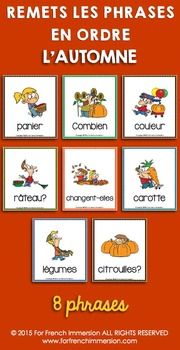 Automne FRENCH Autumn / Fall Sentence Builders