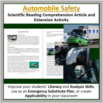 Automobile Safety Comprehension Reading Article - Grade 8 and Up