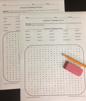 Automotive Technology Careers Word Search Activities