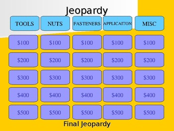 Automotive Tools Jeopardy Review Game