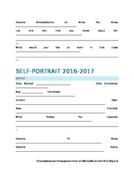 Self-Portrait Worksheet