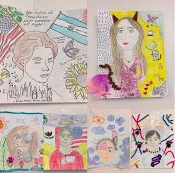 Autorretrato proyecto de Frida Kahlo en español. Self Portrait and Art Walk.