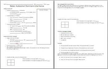 Autosomal Dominance PowerPoint and Student Worksheet