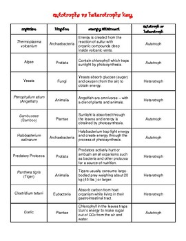 Autotrophs vs Heterotrophs