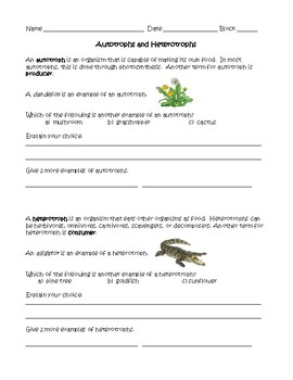 Autotrophs vs. Heterotrophs worksheet by Science Gator Middle School ...