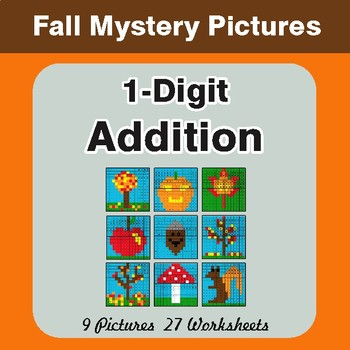 Autumn: 1-Digit Addition - Color-By-Number Mystery Pictures