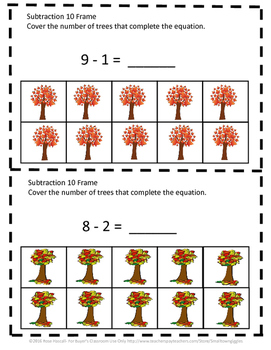 Fall Math 10 Frame Adding Counting Subtraction Special Education Math Fine Motor