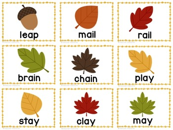 Fall Long Vowels Word Work Game