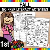 Fall Literacy Worksheets No Prep (1st Grade)