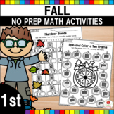 Fall Math Worksheets No Prep (1st Grade)